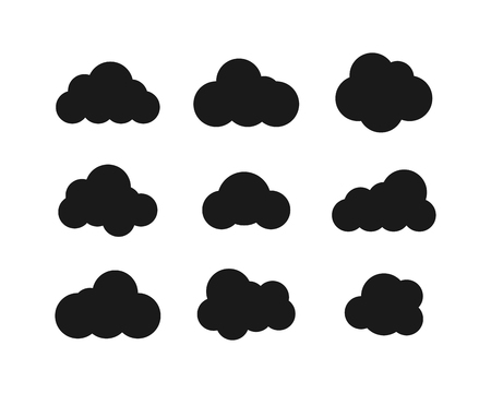 Black Clouds collection in flat design. Black Clouds icons. Clouds isolated. Eps10