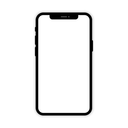 Teléfono móvil negro con pantalla en blanco. Maqueta de teléfono. Teléfono móvil sobre fondo blanco. Smartphone aislado. Smartphone con sombra aislada. Eps10