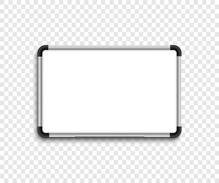 Tableau marqueur blanc. Tableau blanc. Tableau blanc avec ombre sur fond transparent. Eps10 Vecteurs