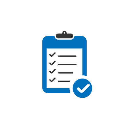 Blue Clipboard icon with check marks in trendy flat design. Clipboard icon. Check mark with clipboard. Eps10