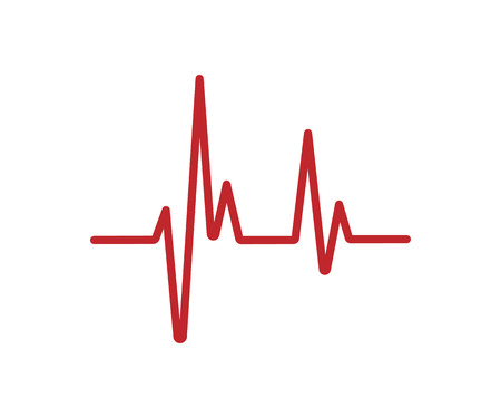 Red Heartbeat line isolated on white background. Heartbeat icon.