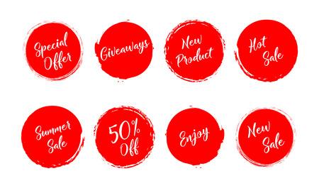 Sale. Summer sale. Giveaway. Special offer. New sale. Grunge style red colored on white background. Eps10 Ilustração