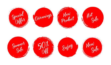Sale. Summer sale. Giveaway. Special offer. New sale. Grunge style red colored on white background. Eps10 Illustration