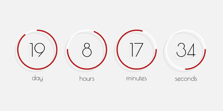Time illustration. Day, Hour, Minutes, Seconds. Flip Countdown timer. Vector clock counter with shadow in flat style. Иллюстрация
