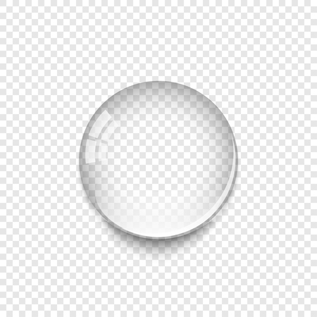 Realistic Water Drop with shadow isolated on transparent background. Water drop icon.