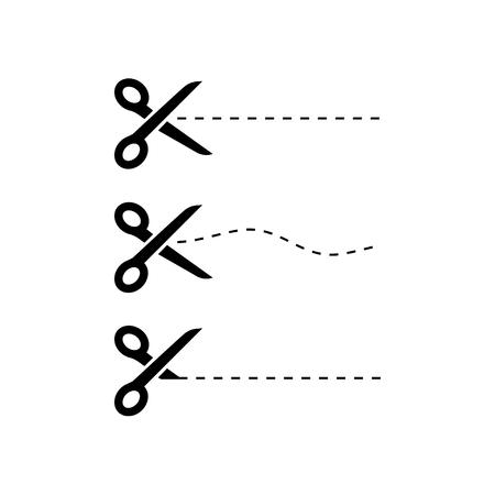 Black Scissors icons with cut lines on white background. Scissors icon. Vecteurs