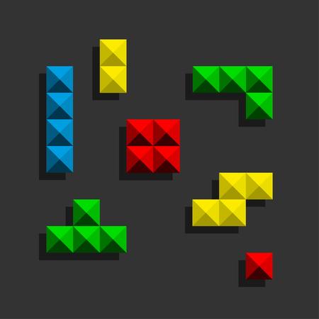 Game bricks Pixel Bricks Pieces with black shadow.