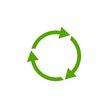 Recycle green icon isolated on white background.