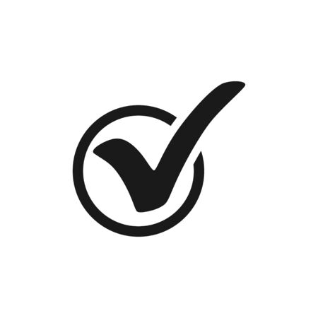 Check mark. Check mark icon in circle. Check mark black icon. Isolated on white background. Eps10