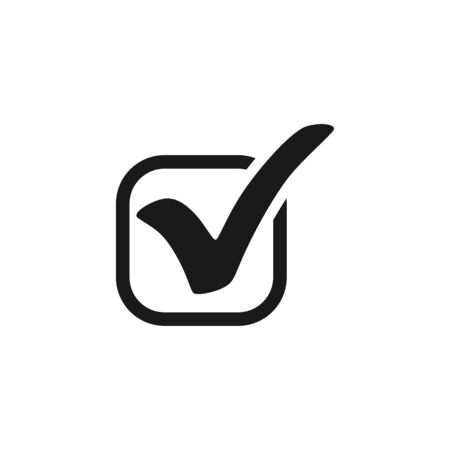 Check mark. Check mark icon in square. Check mark black icon. Isolated on white background. Eps10
