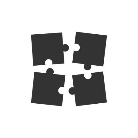 Puzzle icons for web design in flat style. Puzzle icons.