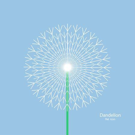 Dandelion flower in flat design. Dandelion flower icon.
