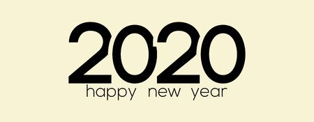 Happy New Year Logo. 2020 logo design. Happy New Year Text Design. Template cover 2020 year in flat design.