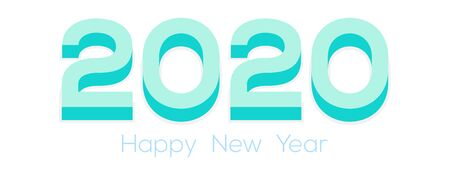 3d Happy New Year Logo. 2020 logo design. Happy New Year Text Design. Template cover 2020 year in flat design.