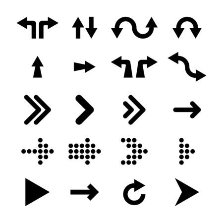 Arrows collection. Black arrows isolated on white background. Arrow of various shapes. Eps10