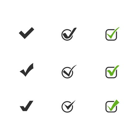 Check mark collection. Green and black check mark vector icons. Check mark with circle and square. Eps10 Vettoriali