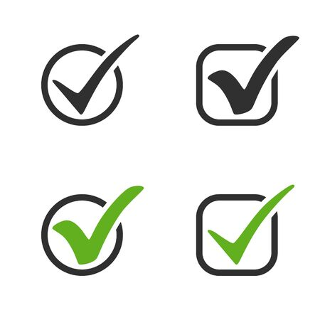 check mark vector icons. green and black check mark in circle and square. check mark collection isolated on white background. Eps10
