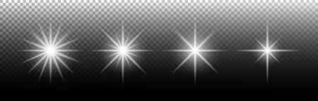 Light effect. Glowing light effect stars. Special light effect on transparent background. Set of shining sun. Vector illustration