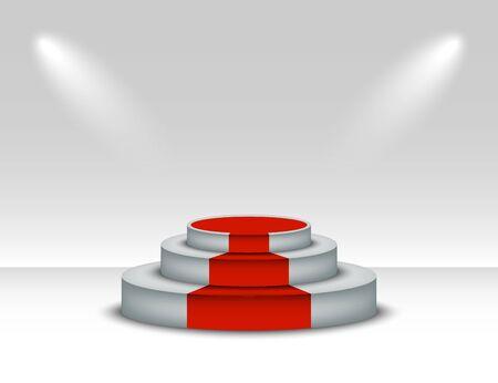 white podium with red carpet. winner pedestal with lighting on white background. podium scene with red carpet for award ceremony. Vector illustration