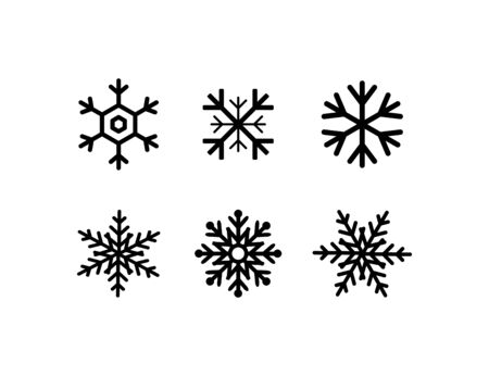 snowflakes collection. black snowflakes isolated on white background. six different snowflakes in flat style for web design. Eps10 Иллюстрация