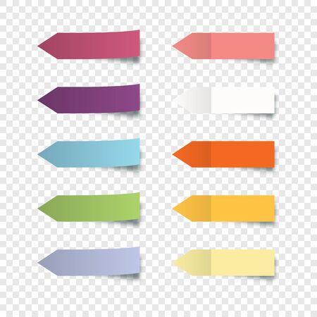 Set of colorful stickers. Collection oblong colorful arrow shaped sticker with peeling off edge realistic style for labeling information. Stickers notes isolated on transparent background. Vector illustration