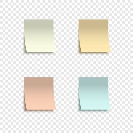 Four colorful stickers. Collection colorful stickers with peeling off edge realistic style for labeling information. Stickers notes isolated on transparent background. Vector illustration