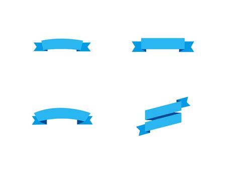 vector blue ribbons banners. blue ribbons banners isolated on white background. collection of four blue ribbons in trendy flat design. empty banners for your design. eps10