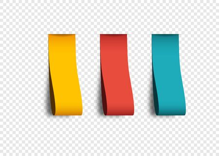 Empty color Labels with shadow, isolated on transparent background. Collection realistic Labels Stickers Ribbons Banners and Tags. Vector illustration