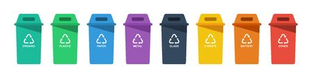 Separation concept. Set of color recycle bin icons in trendy flat style, isolated on white background. Green blue violet black yellow orange and red recycle bins with recycle symbol. Eps10