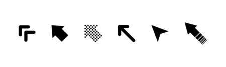 Black arrows collection. Set of black arrow cursor icons in a row isolated on white background. Arrows vector icons. Eps10 Иллюстрация