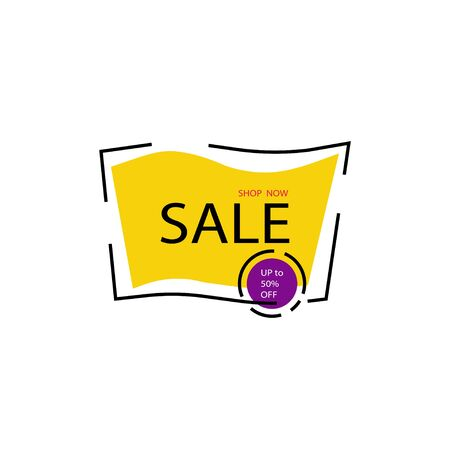 Yellow Sale Banner template design. Shop now illustration. Season special Offer Banner. Discont Banner. Price tags. Sale and Special Offer Tag. Vector illustration