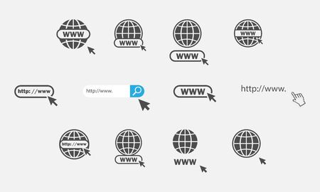 Www icons collection. Web site icons. Www icons with hand cursor in flat design. Www vector icons. Eps10 Иллюстрация