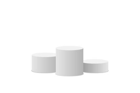 White podium. Winner pedestal. Scene. Empty 3d mockup style design of minimalist contest. Cylinder podium isolated on white background. Vector illustration