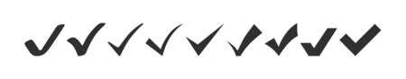 check mark collection. check mark black vector icons, isolated on white background. set of check mark vector icons in a row.