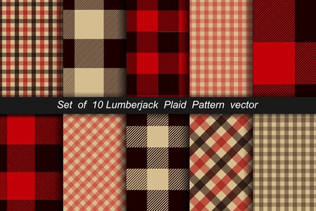 Set of 10 Lumberjack plaid pattern. Lumberjack plaid and buffalo check patterns. Lumberjack plaid tartan and gingham patterns. Vector illustration background