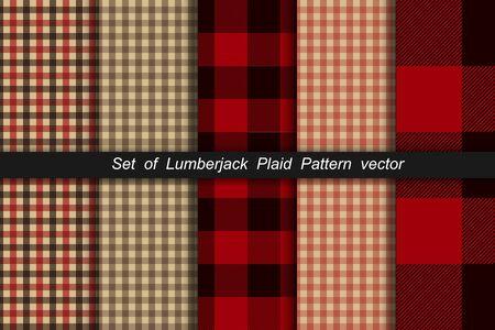 Set of Lumberjack plaid pattern. Lumberjack plaid and buffalo check patterns. Lumberjack plaid tartan and gingham patterns. Vector illustration background Иллюстрация