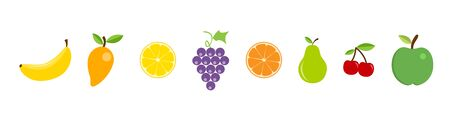 Fruit in a row. Juicy fruit. Fruit icons in modern flat design, isolated on white background. Apple, mango, lemon, grape, orange, pear, cherry and banana in flat style. Vector illustration