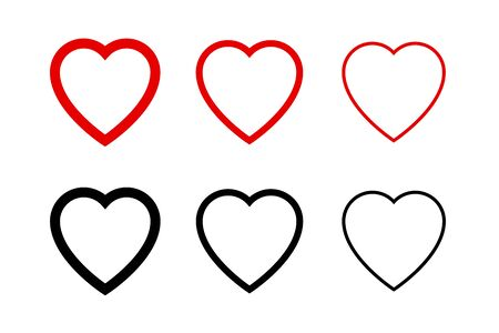 Hearts collection icons. Heart and Like icons. Concept of love. Love symbols. Set of hearts in trendy simple flat and line design. Heart isolated on white background. Outline Love vector signs. Social Like web buttons.