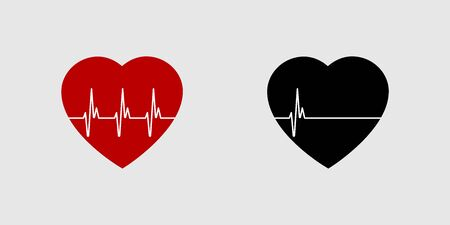 Heartbeat life or dead. Red and black heart with palpitation. Red heartbeat, line of life and black heartbeat, line of death.