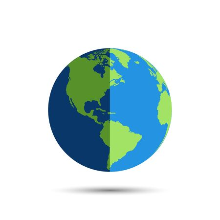Earth globe icon in day and night. Earth globe vector icon with shadow, isolated on white background. World map in modern simple flat design. Planeta Earth icon. Globe symbol. World map isolated.