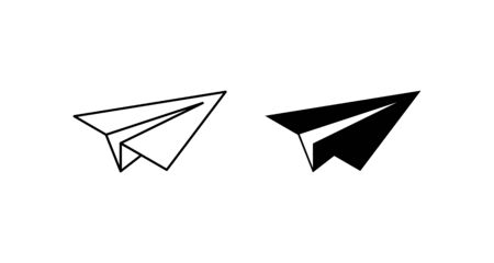 Two Plane vector icons. Plane icons. Airplane vector icon. Sketch of paper airplane in linear and modern simple flat design. Plane web icons. Black Paper Airplane icons, isolated on white background.