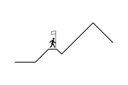business concept. man strives for success. person wants to be the first. mountain route to peak. business illustration. startup business. white background. vector illustration. isolated  イラスト・ベクター素材