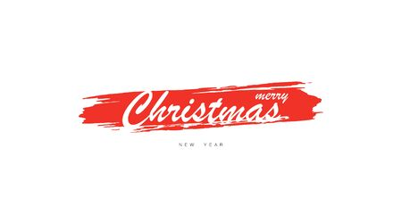 Merry Christmas and happy New Year Poster or Banner. Greeting card Merry Christmas and New Year. Christmas hand drawn lettering. Hand lettering inscription to winter holiday design, isolated on white background. Vector illustration