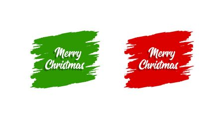 Merry Christmas Poster or Banner. Greeting card Merry Christmas. Christmas hand drawn lettering. Hand lettering inscription to winter holiday design, isolated on white background. Vector illustration Иллюстрация