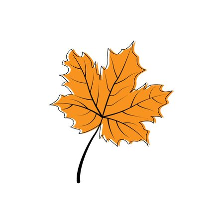 Autumn leaf icon. Autumn maple leaf in modern simpl flat design. Autumn maple leaf, isolated on white background. Vector illustration