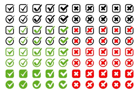 Check Marks with Crosses vector icons big collection. Check Marks with Crosses different shapes and color, isolated on white background. Check Marks icons and Crosses in modern simple flat design. Eps10 Ilustração