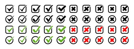 Big set of Check Marks with Crosses different shapes and color. Check Marks with Crosses Vector Icons, isolated on white background. Check Marks with Crosses in modern simple flat style. Eps10