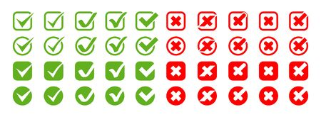 Collection Check Marks with Crosses vector icons. Check Marks icons and Crosses icons in modern simple flat design. Check Marks with Crosses different shapes and color. Eps10