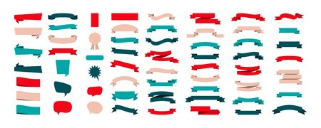Set of colorful Ribbon Banners, isolated on white background. Ribbons banners collection different shape and color. Ribbon Banners vector icons. Eps10
