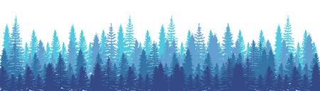 Pines Forest Panorama view. Spruce nature landscape. Forest background. Set of Pine, Spruce and Christmas Tree on White background. Silhouette forest background. Vector illustration